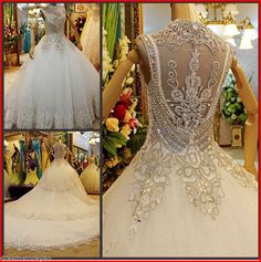 YZ Luxury Unique Crystal Sexy Diamond Wedding Dresses XIMM - Wedding Dresses