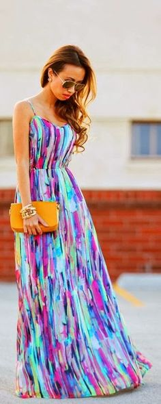 Rainbow colour maxi dress for summers