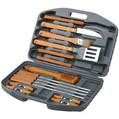 Style Asia HW5231 18 Piece Stainless Steel Barbecue Set with Storage Case- Case of 6- Pack of 6 by Style Asia. $119.94. Width: 3. Great Gift Idea.. Dimensions:. Length: 17. Height: 12. Grill like a pro with this uniquely designed 18 pc BBQ Set from Chefs Basics Select. This comprehensive set of BBQ tools includes tongs, basting brush, turner, steak knives and corn holders. It is perfect for any BBQ event. The tools are made from heavy duty materials and come in a handy case that...