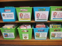 Simple Solutions for an Organized Classroom Library... Love these baskets!