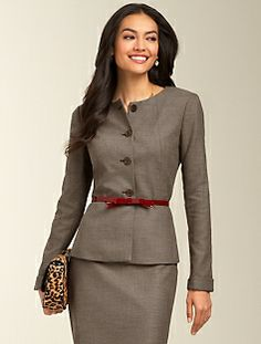 Staggered Twill Peplum Jacket and Skirt in a Brown Multi hue are sold by Talbots as separates, but together they will give you the Olivia Pope Style. A feminine jacket goes to work in our staggered twill fabric. Intricate weaving creates a subtle two-tone hue within a classic twill pattern. Mix and match with items from The Staggered Twill Suiting Collection at Talbots Jacket is $132.99 and the Skirt is on sale for $69.99