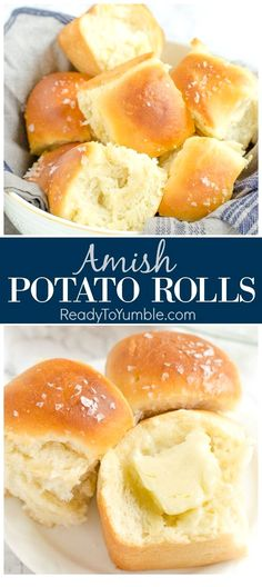 Amish Potato Rolls (MakeAhead is part of Amish bread Holidays - Amish Potato Rolls are the most tender, flavorful rolls you'll ever try, perfect for a holiday feast Bonus you can make the dough the day before! Artisan Bread Recipes, Easy Bread Recipes, Baking Recipes, Potato Recipes, Dutch Recipes, Mashed Potato Rolls Recipe, Bread Machine Potato Bread Recipe, Amish Food Recipes, Recipes Dinner