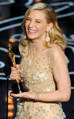 Cate Blanchett winning her Best Actress Oscar at the 2014 Academy Awards