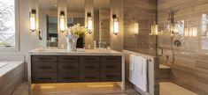 Contemporary Master Bathroom with Interceramic Thassos Travertine x Silver Floor Tile, High ceiling, Walk-in shower Master Bathroom Shower, Modern Master Bathroom, Big Bathrooms, Bathroom Layout, Contemporary Bathrooms, White Bathroom, Bathroom Ideas, Bathroom Designs, Bath Ideas