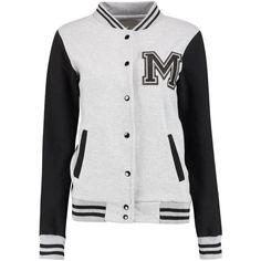 Ella Varsity Bomber Jacket ($28) ❤ liked on Polyvore featuring outerwear, jackets, varsity style jacket, teddy jacket, college jacket, letterman jackets and varsity bomber jacket
