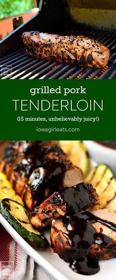 ) Grilled Pork Tenderloin – Easy Grilling Recipe I'm sharing my method for the most unbelievably juicy grilled pork tenderloin, which cooks in under 15 minutes. A filling and healthy summer dinner! Pork Tenderloin Recipes, Grilled Tenderloin, Grilled Pork Tenderloin Rub, Roast Beef, Pork Chops, Pork Dishes, Grilled Vegetables, Summer Recipes, Healthy Summer Dinner Recipes