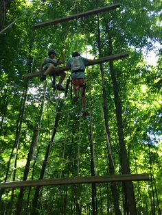 Pretending to be monkeys on the high ropes course! #YLCC #funinfrench #madeittothetop #overnight