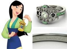 Esmeralda, ouro branco e diamantes negros compõem o anel da heroína Mulan