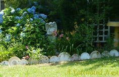 garden bed edging ideas - plate border A Cultivated Nest