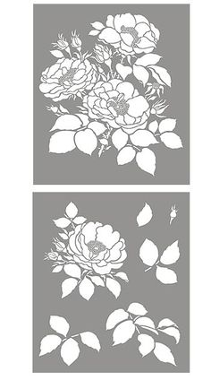 Cottage Rose Flower Stencil