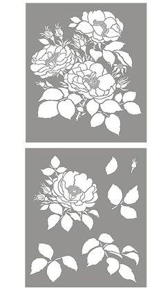 Cottage Rose Flower Stencil