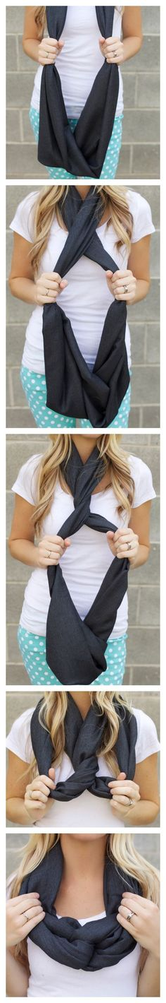 Another way to tie an infinity scarf - I haven't seen this one before.