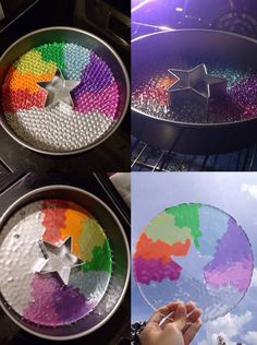Suncatcher by melting pony beads!  1. Arrange beads in non-stick pan.  2. Put in 400 degree oven for 20 minutes (I checked every five to be safe).  3. Once removed from oven, allow to cool in pan.  4. Pop out of pan and enjoy your creation!  You can also make smaller ones by using a cupcake pan and if you'd like to have a built-in hole for a string, place a metal or ceramic bead on it's side among the pony beads.  The plastic will melt around it and you will have a hole for hanging string…