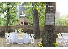 Our backyard reception - that's a lyric board I made hanging on the tree! Tree art. ;p