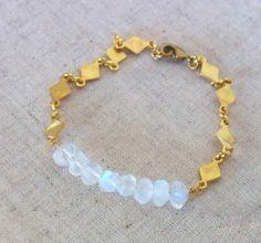 Moonstone Bracelet Raw Brass Jewelry White Bracelet by QuietRobin, $37.00
