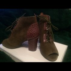 Seychelles open toed lace up bootie Army green suede and brown leather trim. Soft suede. Stacked heel. Purchased at anthropology. New. Never worn and in the box. Adorable! Seychelles Shoes Ankle Boots & Booties