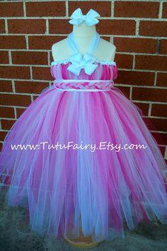 Pink & White Tutu Dress Braided Sash Matching Hair by TutuFairy, $48.00