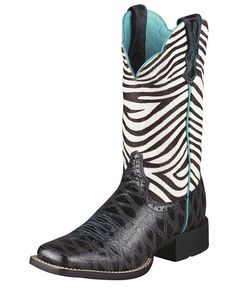 Ariat Zebra Quickdraw.  My niece has these & she wore them for Senior pictures. They added the right touch.