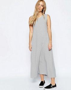 ASOS Swing Maxi Dress In Natural Stripe