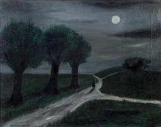 Gertrude Abercrombie (American, Moonlight Path, Oil on canvas, 16 x 20 in.via huariqueje Nocturne, Moonlight Painting, Visual Aesthetics, Beautiful Moon, Painting Gallery, Surreal Art, Night Skies, Dark Art, Paths