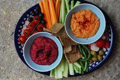 Raw vegies with capsicum-hummus, beetroot dip and homemade lavash crackers...