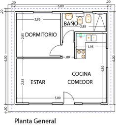 Diseño y planos vivienda 1 dormitorio - Viviendas Tríade Small Floor Plans, Small House Plans, House Floor Plans, Simple House Design, Tiny House Design, Studio Type Apartment, Tyni House, Architectural Floor Plans, Shed Building Plans