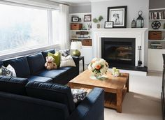 Refined Design - living rooms - Sectional sofa, Family room, living room, blue sofa, wood coffee table, Toronto, Interior Design,  A comfortable,