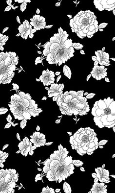 Floral Black and White iPhone background White Flower Wallpaper, Black And White Wallpaper Iphone, White Background Wallpaper, White Iphone, Background Patterns, Trendy Wallpaper, Tumblr Wallpaper, Screen Wallpaper, Black And White Flowers