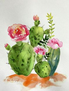 Cactus Patch by Hilda Vandergriff - Art - Best Picture For cactus tattoo For Your Taste You are looking for something, and it is going to t - Cactus Painting, Watercolor Cactus, Cactus Art, Cactus Flower, Watercolor Paintings, Cactus Plants, Prickly Cactus, Cactus Decor, Cactus Tattoo