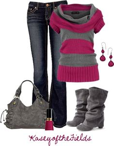 """""""Grey and Fuschia"""" by kaseyofthefields on Polyvore - Grey looks fab with EVERYTHING!"""