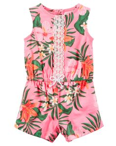 Cute spring or summer baby girl outfit, adorable, romper, in love, floral❤❤❤ Baby Girl Hawaiian Floral Romper | Carters.com