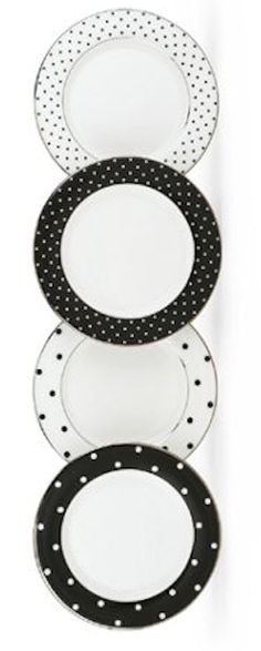 Darling tidbit plates by Kate Spade Black And White Interior, Black White, Connect The Dots, Kitchen Collection, Home Accents, Tablescapes, Sweet Home, Polka Dots, House Design