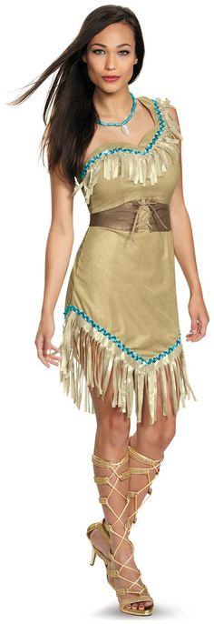 Adult Costumes - This womens Pocahontas Prestige Costume includes the tan dress with fringe, the belt, and also the necklace. This is an authentic and officially licensed Disney product. Disney Pocahontas Kostüm, Pocahontas Dress, Princess Pocahontas, Pocahontas Halloween, Pocahontas Cosplay, Princess Jasmine, Princess Disney, Disney Princesses, Outfits