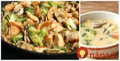 Z jednej brokolice pripravíte výbornú polievku aj druhé jedlo. Dva perfektné recepty, ktoré by určite mali byť súčasťou aj vašej domácej kuchárky. Kuracie kúsky s brokolicou a šampiňónmi Potrebujeme: 300 g kuracích pŕs nakrájaných na kocky 250 g brokolice 150 Tossed, Pasta Salad, Chicken, Meat, Ethnic Recipes, Detox, Recipes, Cooking, Crab Pasta Salad
