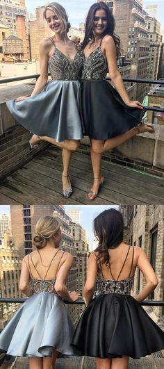 2018 short prom dress homecoming dresses, beaded short prom dresses, grey short prom dresses, silver short homecoming dresses