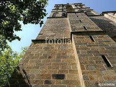 Altes Mauerwerk aus braunem Sandstein der alten katholischen Herz-Jesu-Kirche in Münster in Westfalen im Münsterland