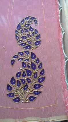 Zardosi Embroidery, Tambour Embroidery, Hand Work Embroidery, Couture Embroidery, Indian Embroidery, Embroidery Fashion, Silk Ribbon Embroidery, Hand Embroidery Designs, Embroidery Patterns