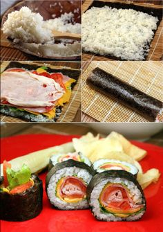 CLUB SANDWICH SUSHI! For those who don't like raw fish, this is the sushi for you! Turkey, tomatoes, lettuce, cheese and spicy mayo rolled up in sushi rice and nori! Makes a great party appetizer!