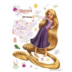 Rapunzel and Painting Wall Sticker Disney Princess Disney Princess Rapunzel, Disney Tangled, Tangled 2010, Removable Wall Stickers, Flower Wall Stickers, Girls Princess Room, Les Stickers, Murals For Kids, Vinyl Art