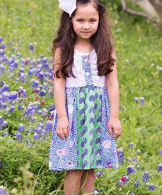 Another great find on #zulily! White & Green Modern Floral Dress - Toddler & Girls #zulilyfinds