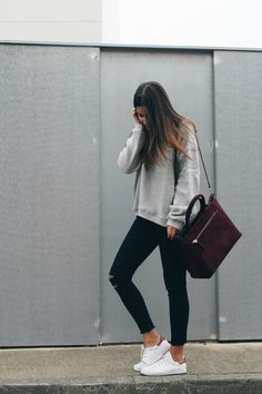 Simple everyday #outfit wearing grey sweatshirt, black #jeans, #sneakers and burgundy bag