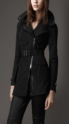 19e4b5bfb73 Burberry - BIKER TRENCH COAT WITH CONCEALED HOOD Burberry Women
