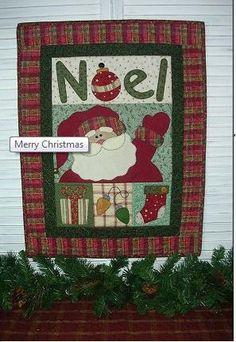 Santa Christmas Quilted Wall Hanging     retirado da net