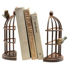 Crafted from iron and featuring a birdcage-inspired design, this lovely bookend is the perfect finishing touch for your reading nook or study.
