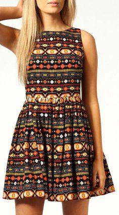 Aztec CutOut Back Skater Dress  {love the colors & the designs} [em]