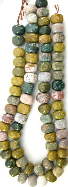Ocean Jasper Chunky Side Drilled Brick Beads, 16in Str