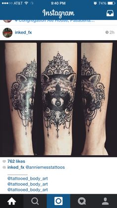 I saw this amazing tattoo on Instagram. Love the details in the raccoon and the frame around. I do not own this tattoo. You can go to this website to see more of this artist. http://www.anniemess.com/tattoos/