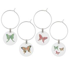 Butterfly and Moth Wine Charms Set of Four From Original Watercolors by MBrothertonArt on Etsy