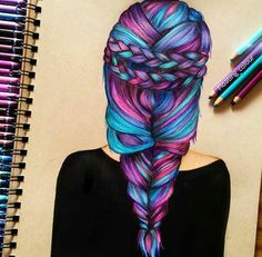 Hair (Drawing by Floating_Colour Amazing Drawings, Beautiful Drawings, Colorful Drawings, Cute Drawings, Amazing Art, Hair Drawings, Drawing Hair, Dibujos Tumblr A Color, Hair Sketch
