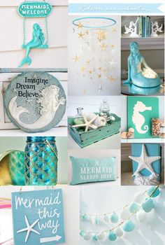 ideas bath room beach decor diy bedrooms for 2019 Mermaid Room Decor, Beach Room Decor, Mermaid Bedroom, Mermaid Nursery, Beach House Decor, Sea Bedrooms, Ocean Bedroom, Girls Bedroom, Bedroom Themes